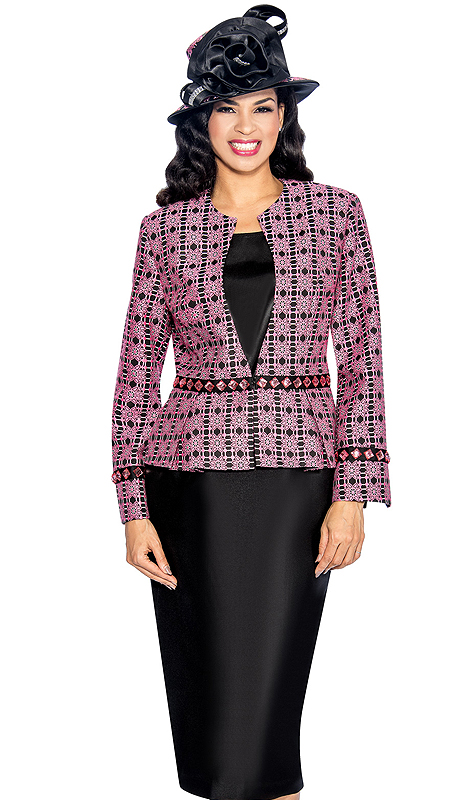 Giovanna 1044-HB ( 3pc Silk Look With Novelty Womens Church Suit, Ornate Patterned Jacket, Rhinestone Embellishment At Waist And Sleeve With Cami And Skirt )