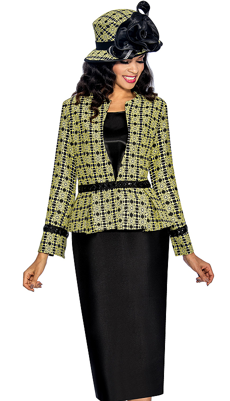 Giovanna 1044-LB ( 3pc Silk Look With Novelty Womens Church Suit, Ornate Patterned Jacket, Rhinestone Embellishment At Waist And Sleeve With Cami And Skirt )