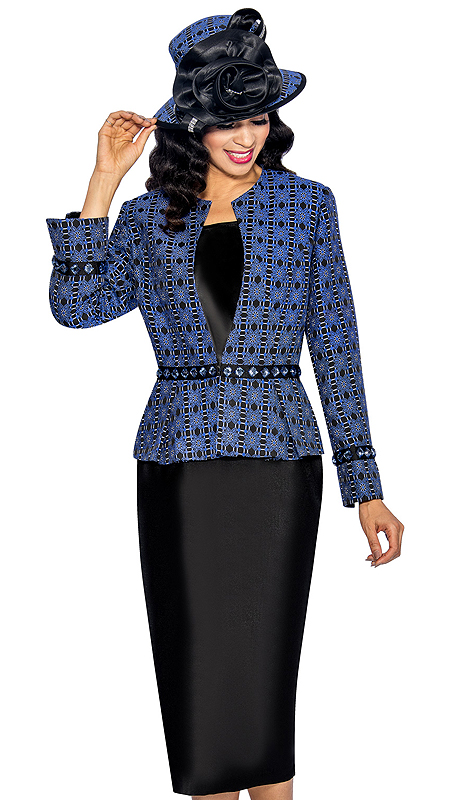 Giovanna 1044-RB ( 3pc Silk Look With Novelty Womens Church Suit, Ornate Patterned Jacket, Rhinestone Embellishment At Waist And Sleeve With Cami And Skirt )