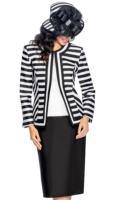 Giovanna 1039-BW ( 3pc Silk Look Womens Church Suit With Striped Jacket, Solid Cami And Skirt )