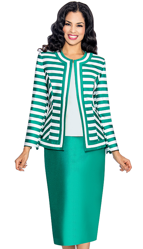 Giovanna 1039-EW ( 3pc Silk Look Womens Church Suit With Striped Jacket, Solid Cami And Skirt )