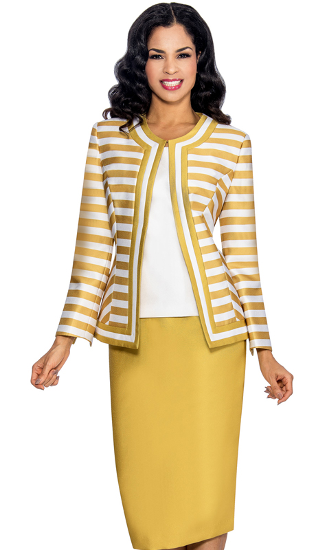 Giovanna 1039-GW ( 3pc Silk Look Womens Church Suit With Striped Jacket, Solid Cami And Skirt )