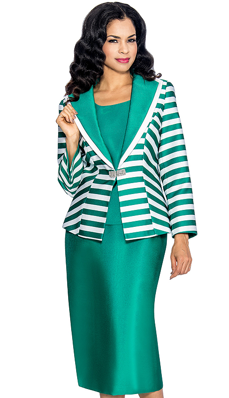 Giovanna 1042-EW ( 3pc Silk Look Ladies Church Suit With Layered Lapel Striped Jacket, Rhinestone Clasp, Cami And Solid Skirt )