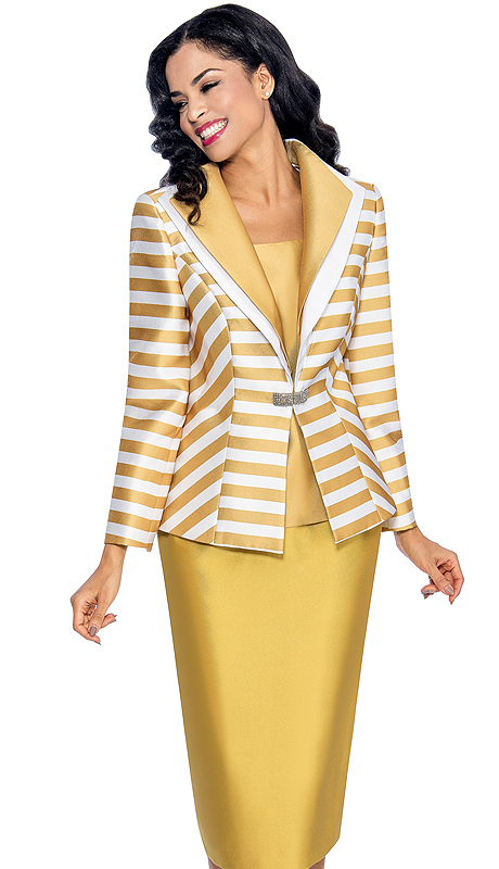 Giovanna 1042-GW ( 3pc Silk Look Ladies Church Suit With Layered Lapel Striped Jacket, Rhinestone Clasp, Cami And Solid Skirt )