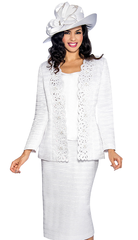 Giovanna 1001-W ( 3pc Jacquard Sunday Church Suit With Cut-Ups Design On Jacket )