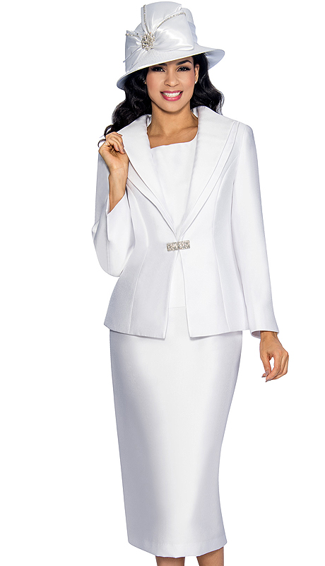 Giovanna 1042-WHT ( 3pc Silk Look Ladies Church Suit With Layered Lapel Jacket, Rhinestone Clasp, Cami And Skirt )