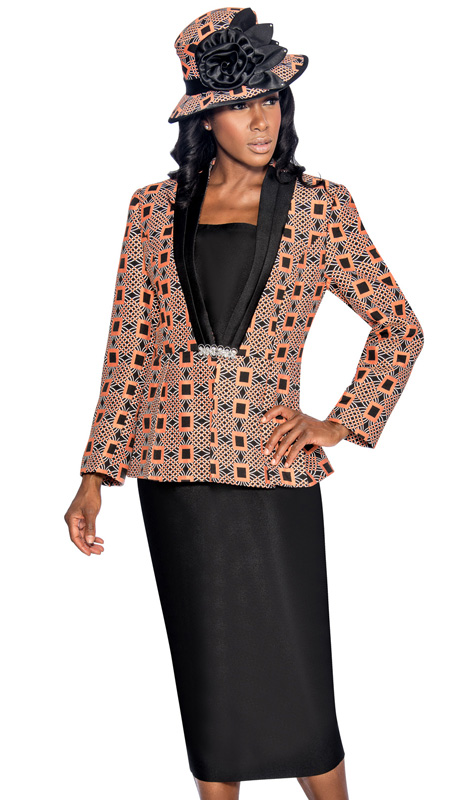 Giovanna 1043-OR ( 3pc Silk Look With Novelty Womens Church Suit, Ornate Patterned Peplum Jacket, Rhinestone Embellishment At Waist With Cami And Skirt )