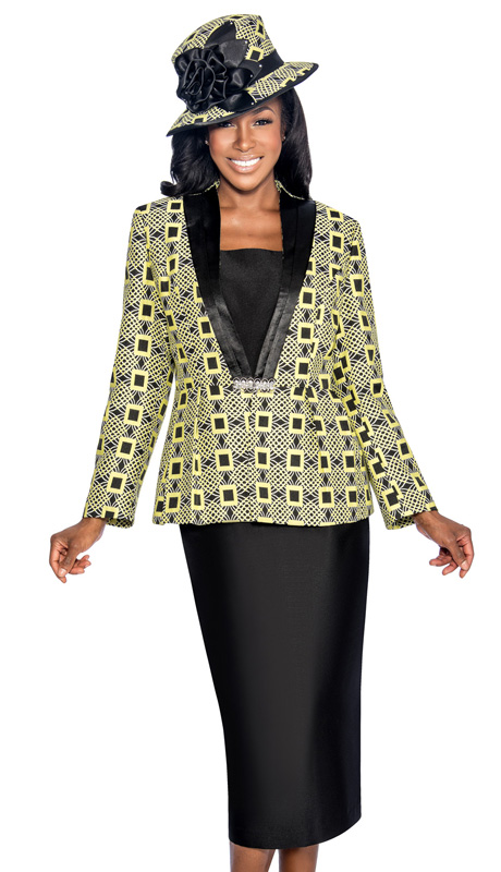 Giovanna 1043-LI ( 3pc Silk Look With Novelty Womens Church Suit, Ornate Patterned Peplum Jacket, Rhinestone Embellishment At Waist With Cami And Skirt )