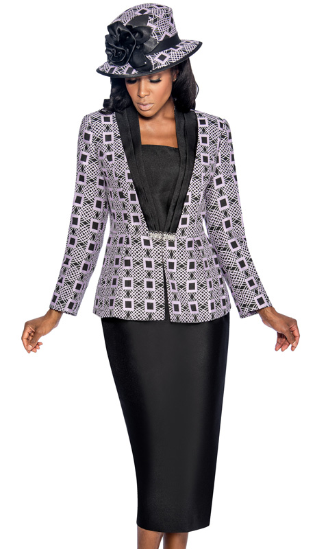 Giovanna 1043-LB ( 3pc Silk Look With Novelty Womens Church Suit, Ornate Patterned Peplum Jacket, Rhinestone Embellishment At Waist With Cami And Skirt )