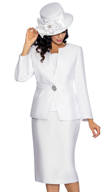 Giovanna 1026-WH ( 3pc Silk Look Ladies Church Suit With Pleated Waist And Rhinestone Embellishment On Jacket With Cami And Skirt )