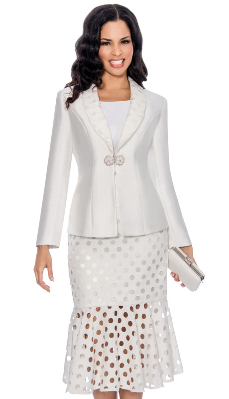Giovanna 0895-WH ( 3pc Silk Look Ladies Church Suit With Laser Cut, Polka-Dot Pattern Lapel, Cami And Skirt )