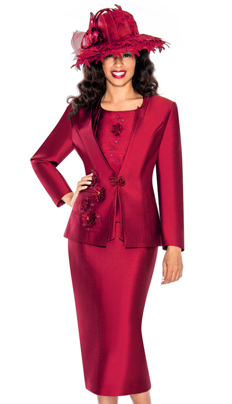 Giovanna 1003-WI  ( 3pc Silk Look Ladies Church Suit With Embroidery And Rhinestones )