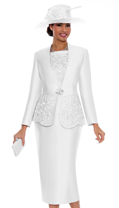 Giovanna 1018-WH ( 3pc Silk Look Ladies Church Suit With Cut-Out Floral Design And Rhinestone Details )