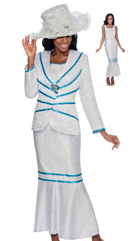 Giovanna 0906-531 ( 2pc Tuffted Womens Suit In Colored Piling Trim )