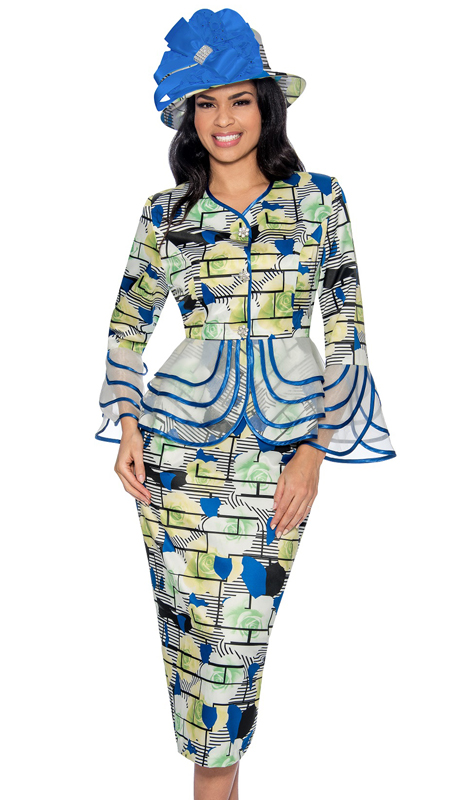 Giovanna D1342-WR-312- ( 2pc Novelty Womens Sunday Suit In Gorgeous Pattern With Sheer Trim )