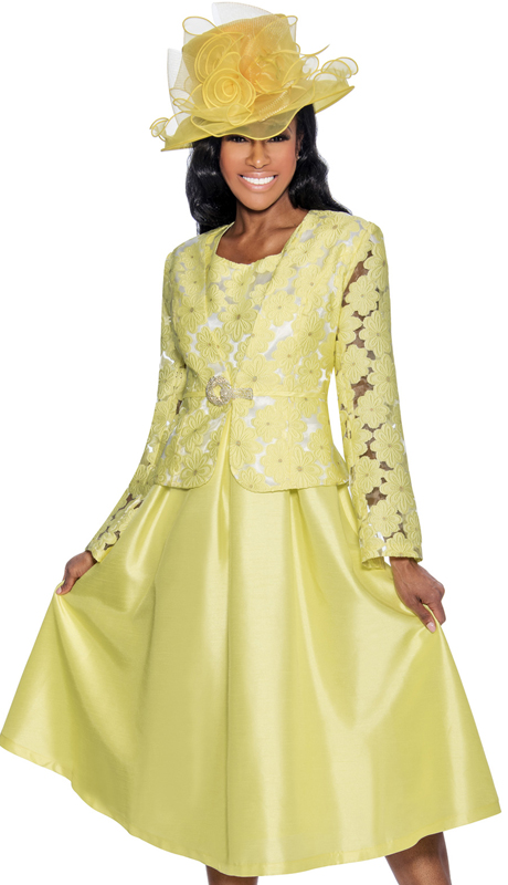 Giovannna D1468-YW-312 ( 2pc Taffeta Ladies Jacket Dress For Church With Rhinestone Embellished Fit And Flare Dress And Jacket With Fabric Rose Brooch )