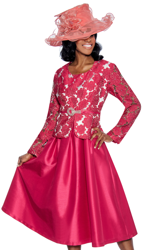 Giovanna D1468-PW-312 ( 2pc Taffeta Ladies Jacket Dress For Church With Rhinestone Embellished Fit And Flare Dress And Jacket With Fabric Rose Brooch )