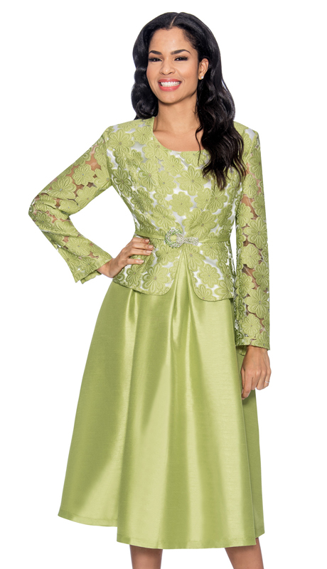 Giovanna D1468-LW-312 ( 2pc Taffeta Ladies Jacket Dress For Church With Rhinestone Embellished Fit And Flare Dress And Jacket With Fabric Rose Brooch )