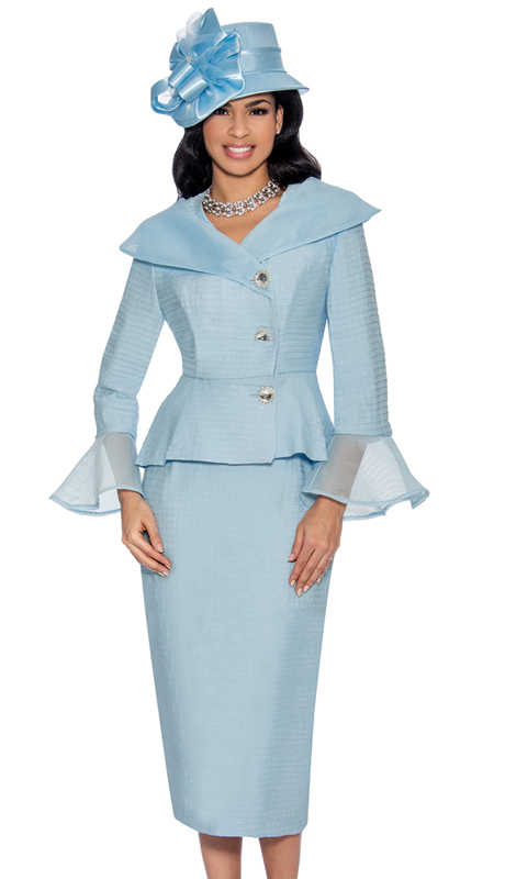 Giovanna G1063-IB-315 ( 2pc Novelty Womens Church Suit With Organza Off The Shoulder Collar And Flare Cuffs )