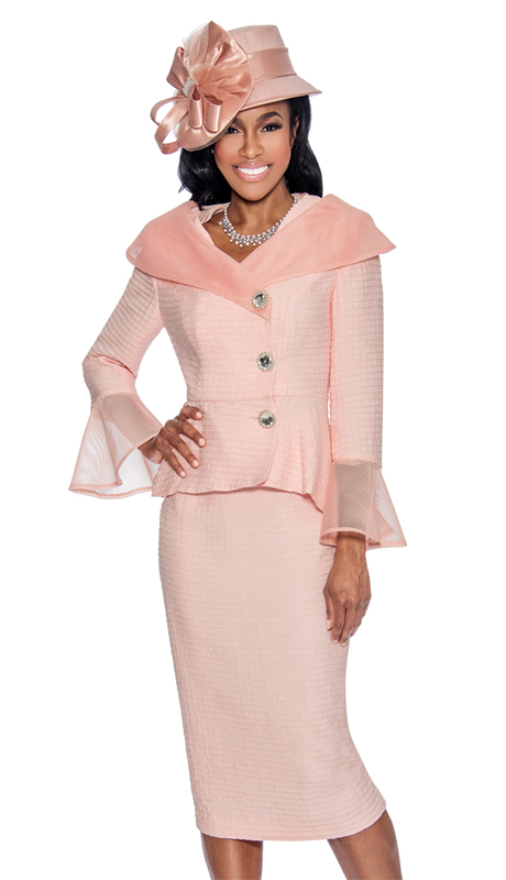Giovanna G1063-P-315 ( 2pc Novelty Womens Church Suit With Organza Off The Shoulder Collar And Flare Cuffs )