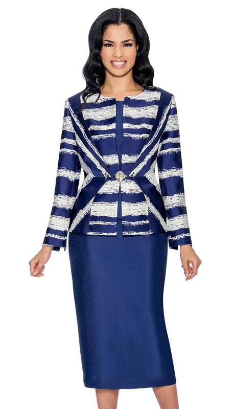 Giovanna G1055-PW-320 ( 3pc Silk Look Womens Suit In An Elegant Two Tone Print )