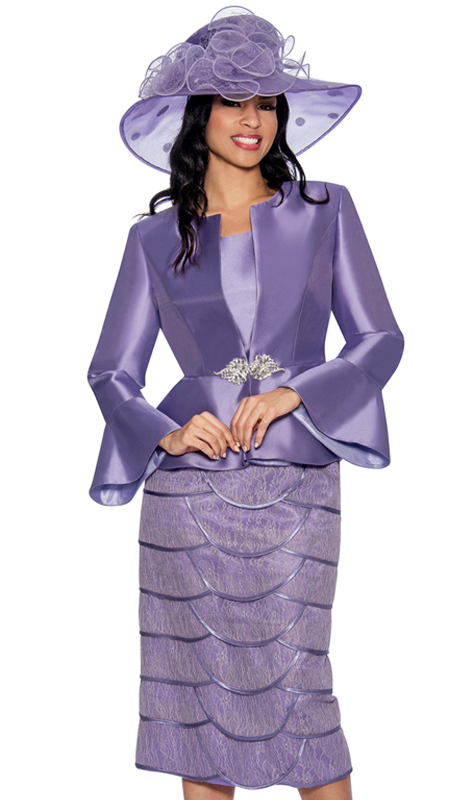 Giovanna G1060-L-315 ( 3pc Silk Look Sunday Suit With Flare Cuffs And Fancy Skirt )