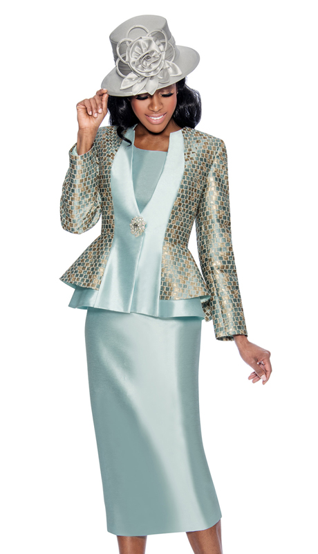 Giovanna G1061-W-315 ( 3pc Silk Look With Brocade Church Suit With Layered Jacket And Rhinestone Button )
