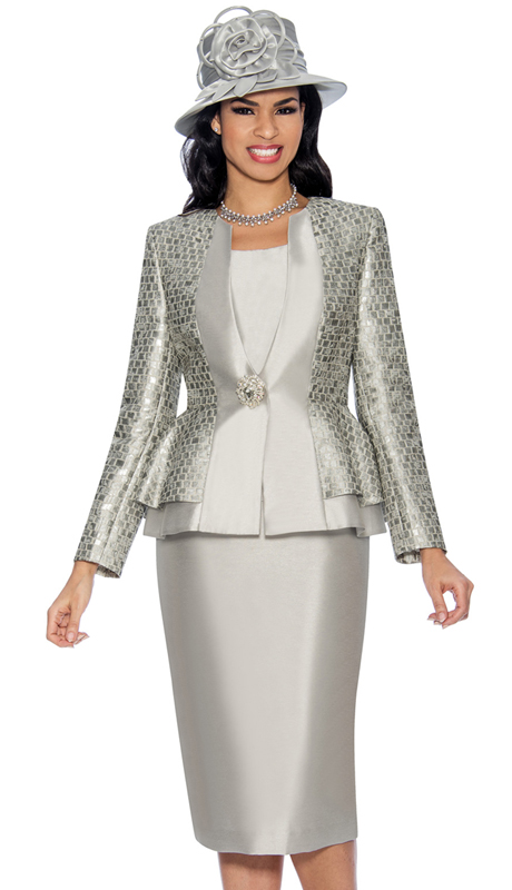Giovanna G1061-S-315 ( 3pc Silk Look With Brocade Church Suit With Layered Jacket And Rhinestone Button )