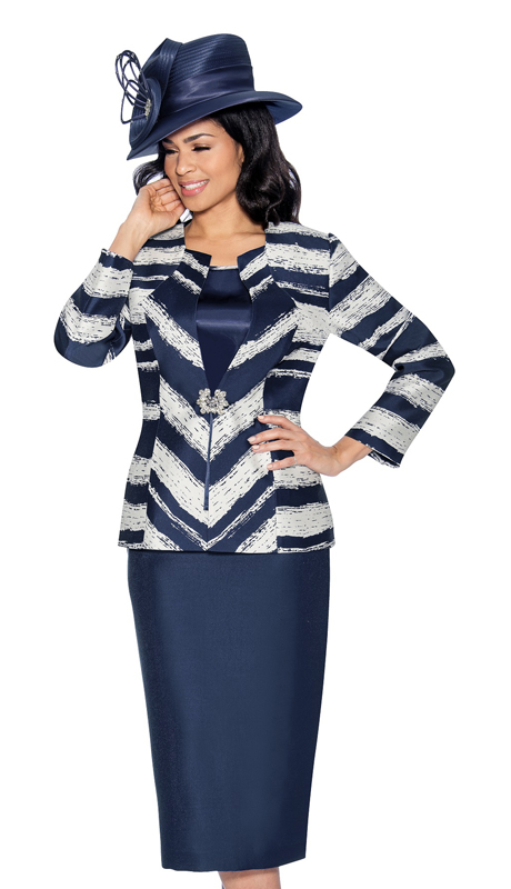 Giovanna G1056-PW ( 3pc Silk Look Womens Suit In An Elegant Two Tone Print )