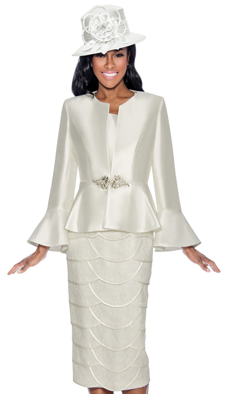 Giovanna 1060-OW-CO ( 3pc Silk Sunday Suit With Flare Cuffs And Fancy Skirt )