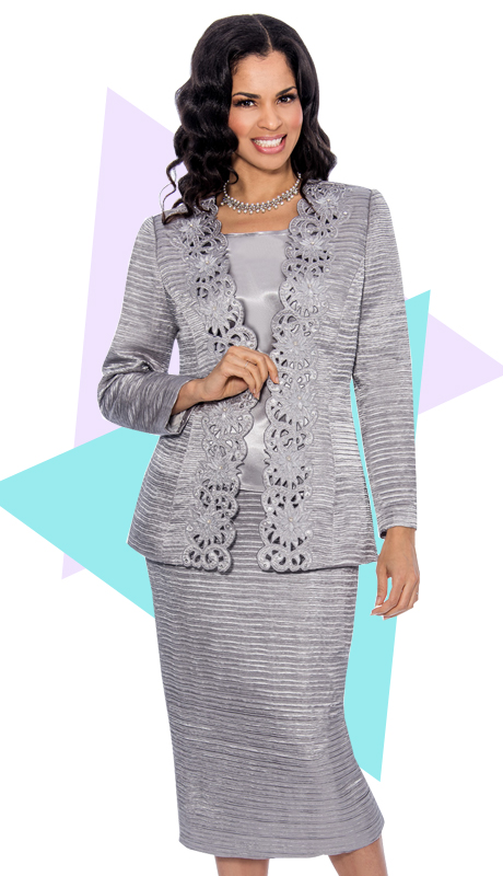 Giovanna 1001-SI ( 3pc Jacquard Sunday Church Suit With Cut-Ups Design On Jacket )