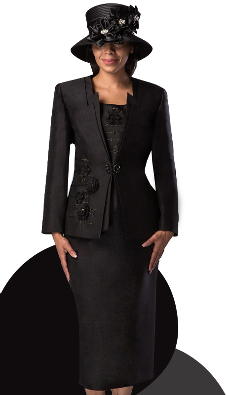 Giovanna 1003-BLK ( 3pc Silk Look Ladies Church Suit With Embroidery And Rhinestones )