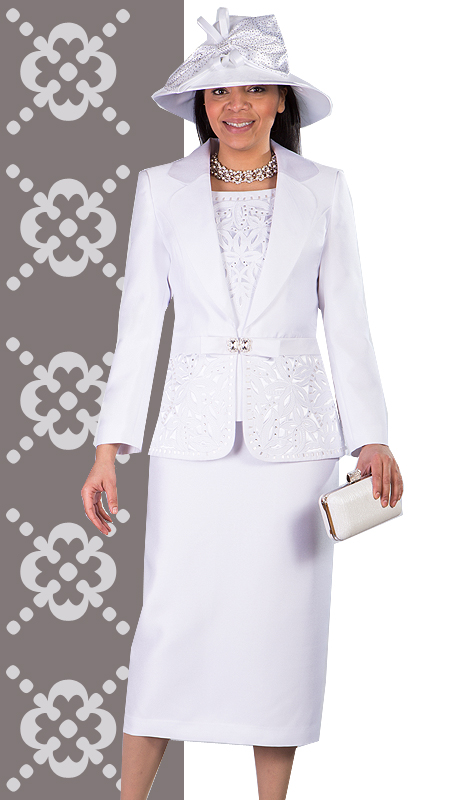 Giovanna 1007-WHT ( 3pc Silk Look Womens Church Suit With Ornate Cut Outs And Beading On Jacket And Cami )