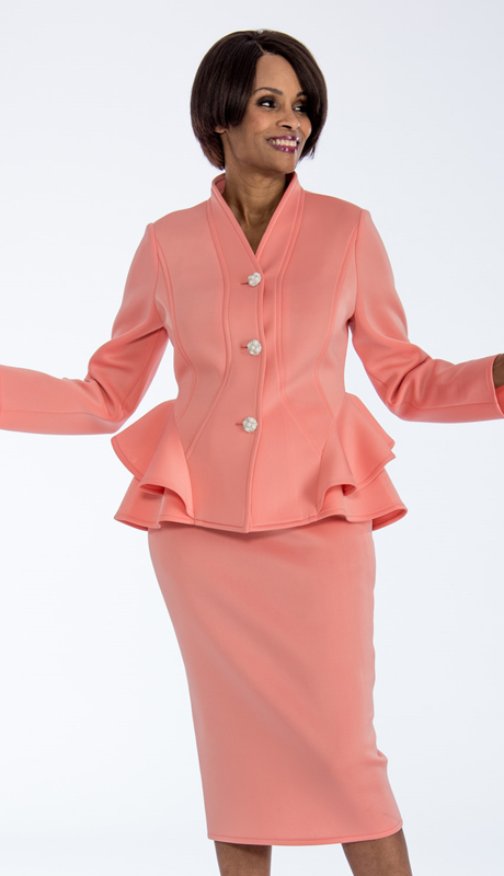 Susanna 3848-IH-ME ( 2pc Scuba Knit Ladies Church Suit With Ruffle Peplum Jacket )