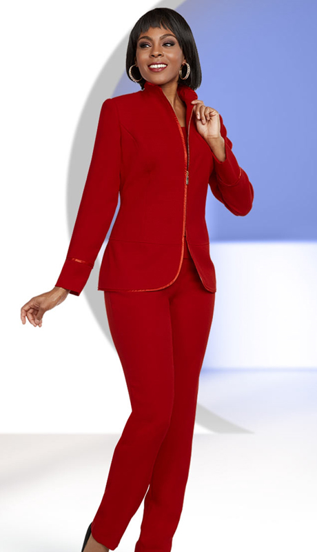 Ben Marc Executive 11651-IH-RE ( 3pc Womens Career Pant Suit With Swan Necline Jacket )