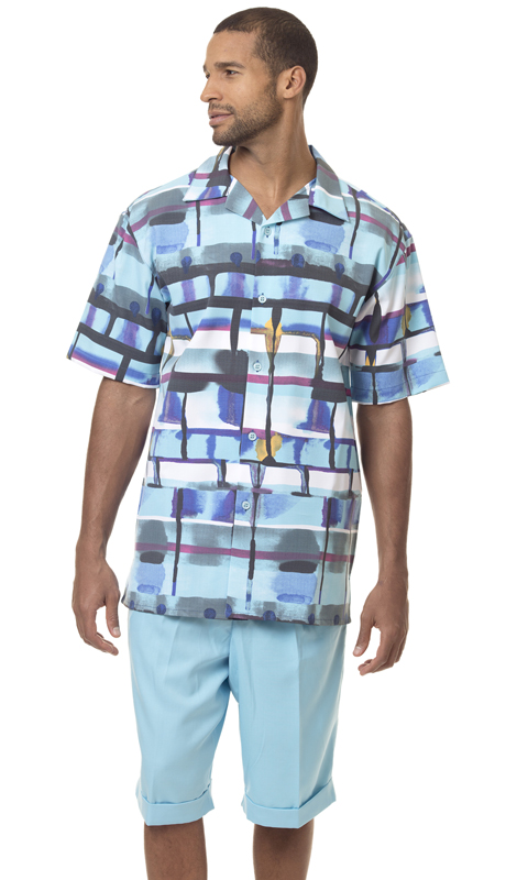 Montique 7828 ( 2Pc Men Walking Suit Short Sets )