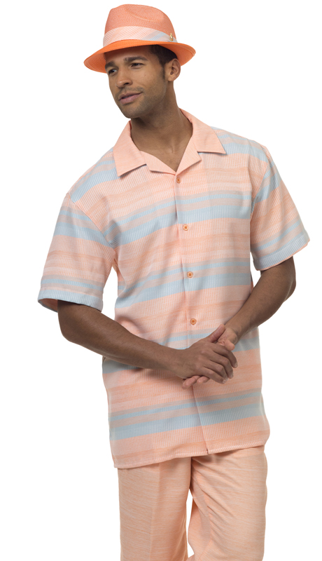 Montique 1872-PE ( 2Pc Men Walking Suit Short Sleeve Shirt Men's Leisure )