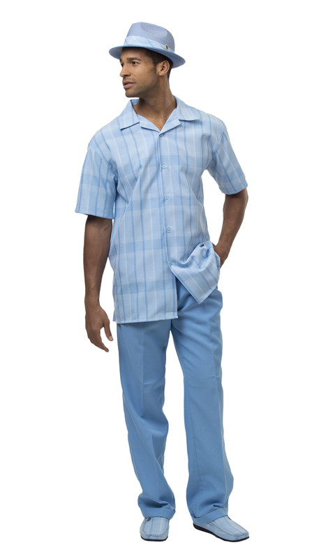 Montique 1865-SB ( 2Pc Men Walking Suit Plaid Short Sleeve Shirt Men's Leisure )