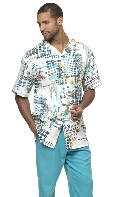 Montique 1848-EB ( 1Pc Walking Suit Plaid Short Sleeve Shirt Men's Leisure )