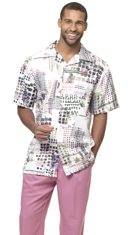 Montique 1848-BL ( 1Pc Walking Suit Plaid Short Sleeve Shirt Men's Leisure )
