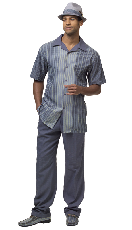 Montique 1846 ( 2Pc Men Walking Suit Plaid Short Sleeve Shirt Men's Leisure )