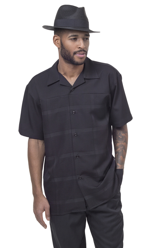 Montique 1842-BLK ( 2Pc Men Walking Suit Plaid Short Sleeve Shirt Men's Leisure )