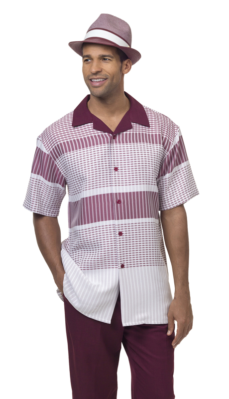 Montique 1840 ( 1Pc Walking Suit Print Short Sleeve Shirt Men's Leisure )