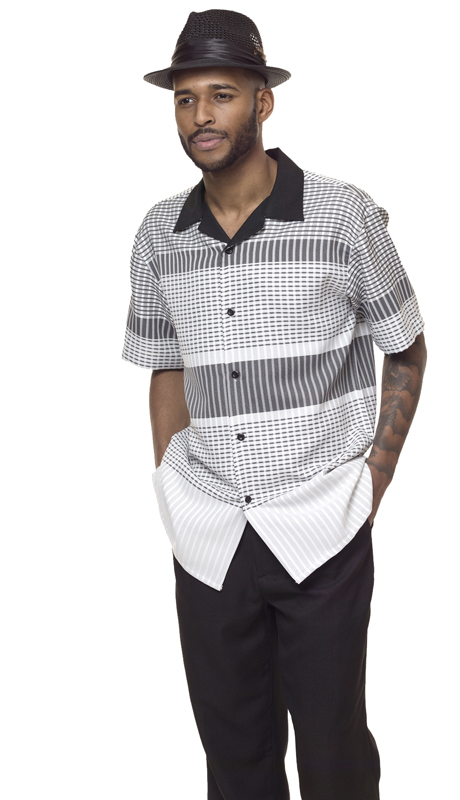 Montique 1840-BLK ( 2Pc Walking Suit Print Short Sleeve Shirt Men's Leisure )