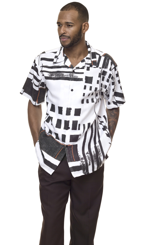 Montique 1839-BLK ( 2Pc Walking Suit Print Short Sleeve Shirt Men's Leisure )