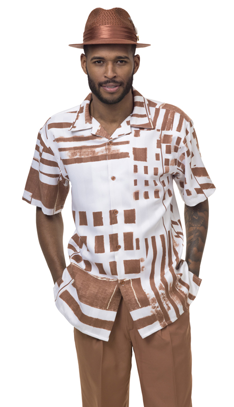 Montique 1839-CI ( 2Pc Walking Suit Print Short Sleeve Shirt Men's Leisure )