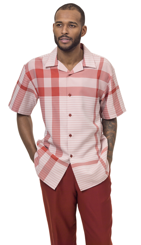 Montique 1832-ST ( 1Pc Walking Suit Plaid Short Sleeve Shirt Men's Leisure )
