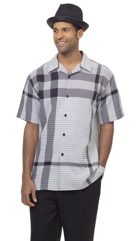 Montique 1832-BLK ( 1Pc Walking Suit Plaid Short Sleeve Shirt Men's Leisure )