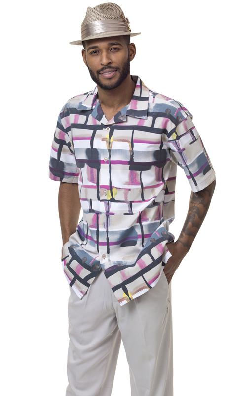 Montique 1828-TA ( 2Pc Men Walking Suit Plaid Short Sleeve Shirt Men's Leisure )