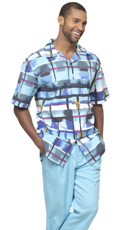 Montique 1828-B ( 2Pc Men Walking Suit Plaid Short Sleeve Shirt Men's Leisure )